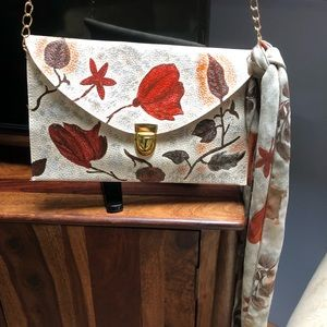 Hand painted clutch with matching scarf